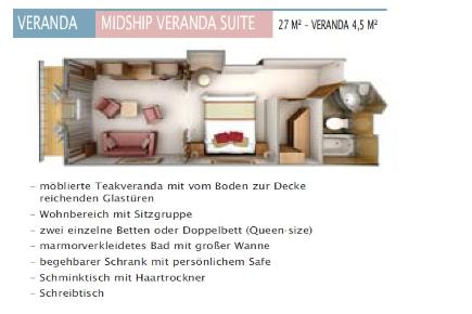 Silver Cloud Veranda und Midship Suite